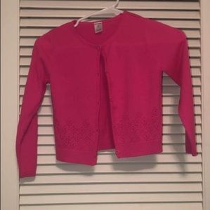 Girls Neon Pink Button up sweater